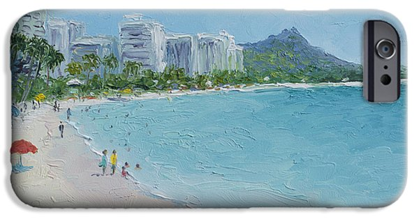 House Art iPhone Cases - Waikiki beach Honolulu Hawaii iPhone Case by Jan Matson