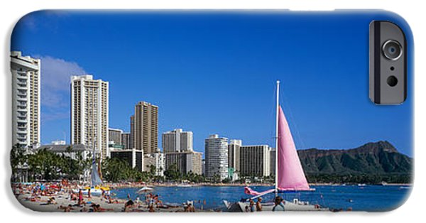 Sailboat Ocean iPhone Cases - Waikiki Beach Oahu Island Hi Usa iPhone Case by Panoramic Images