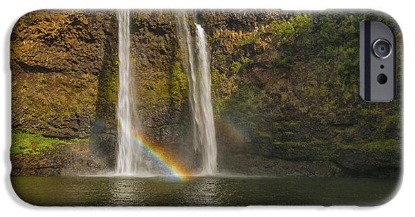 Hawaii Islands iPhone Cases - Wailua Falls Rainbow iPhone Case by Brian Harig