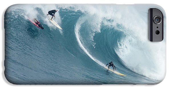 Big Wave iPhone Cases - Waimea Surfers iPhone Case by Sean Davey