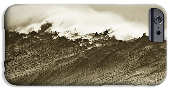 Surf Silhouette iPhone Cases - Waimea Wall iPhone Case by Sean Davey