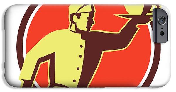 Waiter Digital iPhone Cases - Waiter Serving Coffee Cup Retro iPhone Case by Aloysius Patrimonio