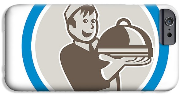 Waiter Digital iPhone Cases - Waiter Serving Food on Platter Retro iPhone Case by Aloysius Patrimonio