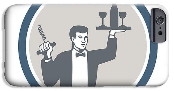 Waiter Digital iPhone Cases - Waiter Serving Wine Bottle on Platter Retro iPhone Case by Aloysius Patrimonio