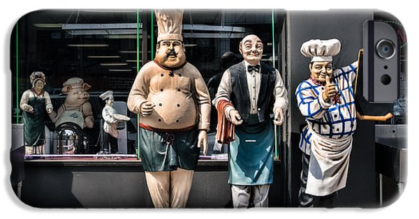 Waiter Photographs iPhone Cases - Waiters and Chefs - Food Service Industry Statues iPhone Case by Gary Heller
