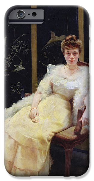 Ball Gown iPhone Cases - Waiting, 1901 Oil On Canvas iPhone Case by Ernst Philippe Zacharie