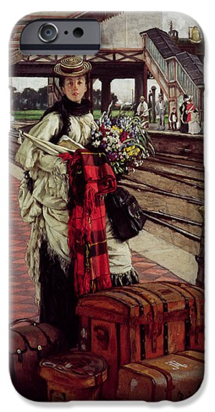 Railway iPhone Cases - Waiting At The Station, Willesden Junction, C.1874 iPhone Case by James Jacques Joseph Tissot