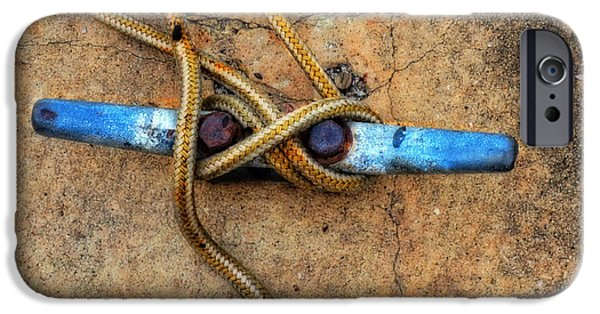 Boats iPhone Cases - Waiting - Boat Tie Cleat By Sharon Cummings iPhone Case by Sharon Cummings