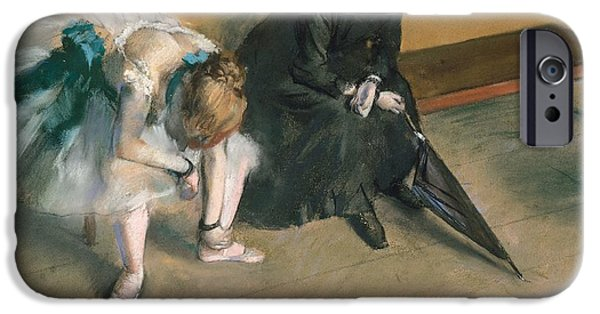 Thinking Pastels iPhone Cases - Waiting  iPhone Case by Edgar Degas