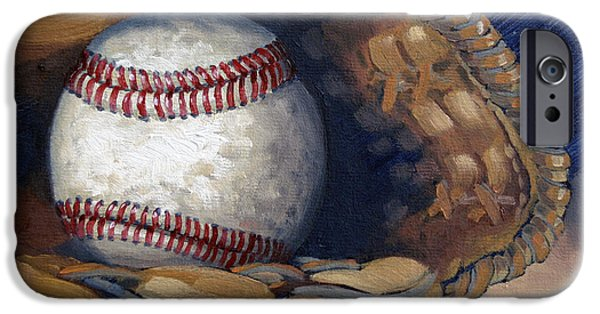 Baseball Glove Paintings iPhone Cases - Waiting for a Game iPhone Case by Robin Roberts