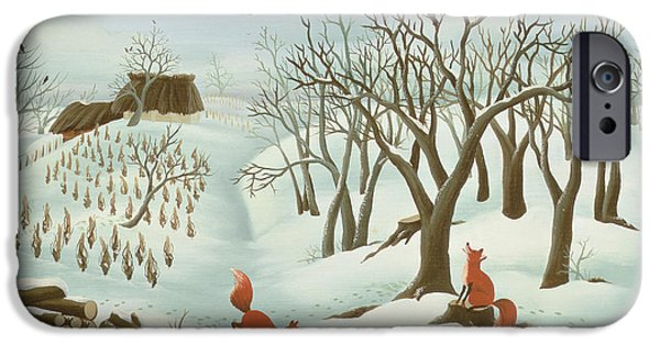 Winter iPhone Cases - Waiting For Better Times, 1980, Oil On Wood iPhone Case by Magdolna Ban