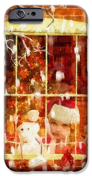 Christmas Eve iPhone Cases - Waiting for Santa iPhone Case by Mo T