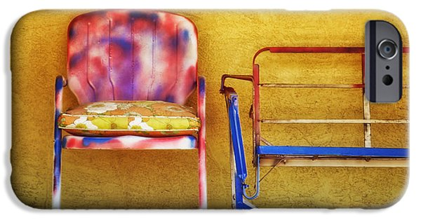 Lawn Chair iPhone Cases - Waiting for Spring iPhone Case by Nikolyn McDonald