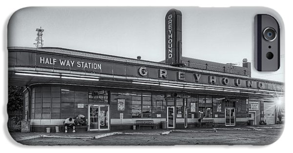 Old Bus Stations iPhone Cases - Waiting for the Bus II iPhone Case by Clarence Holmes