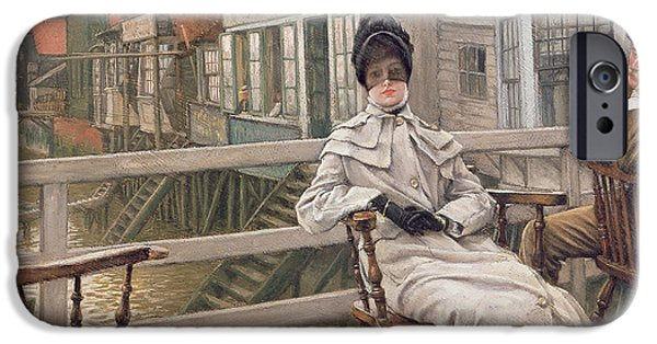 Kathleen iPhone Cases - Waiting For The Ferry, C.1878 Panel iPhone Case by James Jacques Joseph Tissot