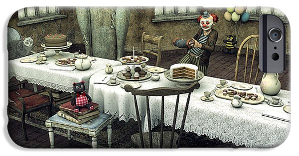 Tea Party iPhone Cases - Waiting for the Guests iPhone Case by Jutta Maria Pusl