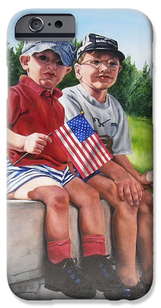 Fourth Of July Paintings iPhone Cases - Waiting for the Parade iPhone Case by Lori Brackett