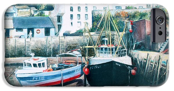 Village Pastels iPhone Cases - Waiting For The Tide iPhone Case by Rosemary Colyer