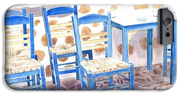 Empty Chairs Paintings iPhone Cases - Waiting for Tourists - Patmos iPhone Case by Ralph Kingery