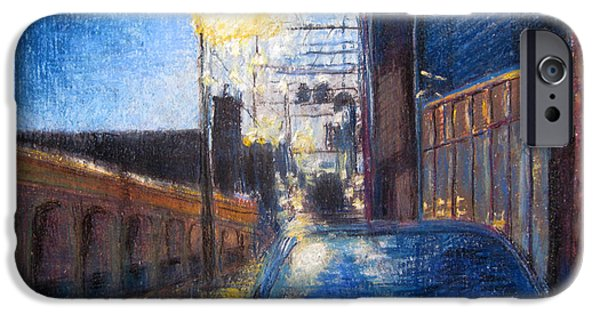 Alley Pastels iPhone Cases - Waiting in the Rain iPhone Case by Lillian Brue