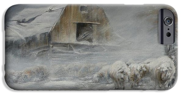 Winter Storm Paintings iPhone Cases - Waiting out the Storm iPhone Case by Mia DeLode