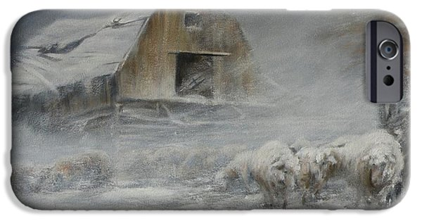 Old Barns iPhone Cases - Waiting out the Storm iPhone Case by Mia DeLode