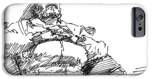 Nap iPhone Cases - Waiting Room Nap Sketch iPhone Case by Ylli Haruni