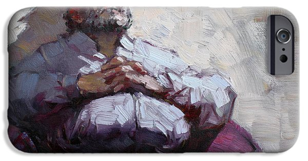 Man Paintings iPhone Cases - Waiting Room Nap iPhone Case by Ylli Haruni