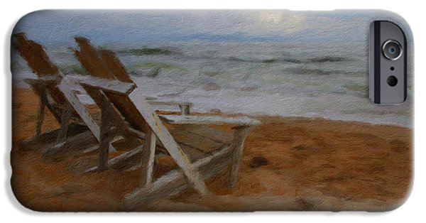 Adirondack Chairs On The Beach iPhone Cases - Waiting Still iPhone Case by Alice Gipson