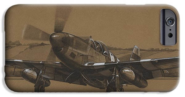 P-51 Mustang iPhone Cases - Waking Up Merlin iPhone Case by Wade Meyers