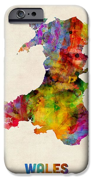 Great Britain iPhone Cases - Wales Watercolor Map iPhone Case by Michael Tompsett