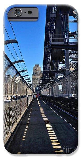 Walk across Sydney Harbour Bridge iPhone Case by Kaye Menner