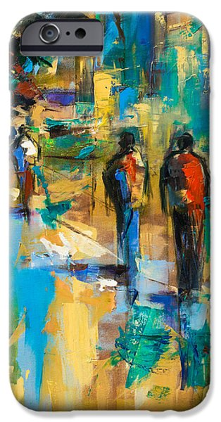 Abstractions iPhone Cases - Walk in the City iPhone Case by Elise Palmigiani