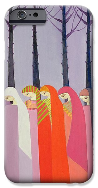 Recently Sold -  - Forest iPhone Cases - Walk In The Park, 1989 Acrylic On Canvas iPhone Case by Laila Shawa