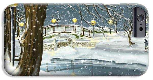 Ipad iPhone Cases - Walk in the snow iPhone Case by Veronica Minozzi