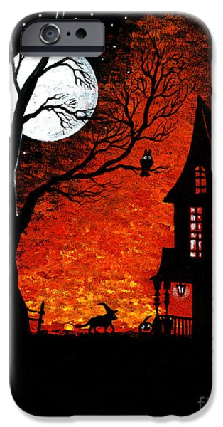 Haunted House Paintings iPhone Cases - Walk Of The Catwitch iPhone Case by Margaryta Yermolayeva
