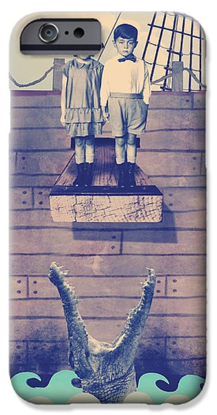 Pirate Ship Mixed Media iPhone Cases - Walk The Plank iPhone Case by William Sikora