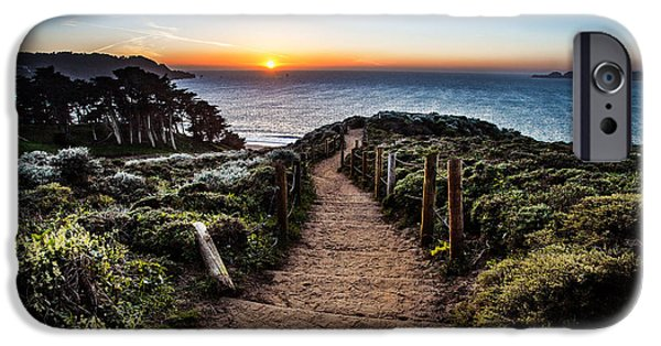 Ocean Sunset iPhone Cases - Walk to the Sunset iPhone Case by Steven Reed