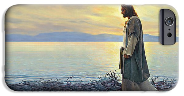 Reflection Paintings iPhone Cases - Walk With Me iPhone Case by Greg Olsen