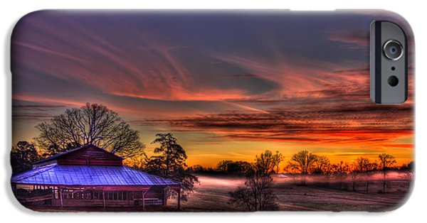 Pastureland iPhone Cases - Misty Morning Sunrise Walker Church Road iPhone Case by Reid Callaway