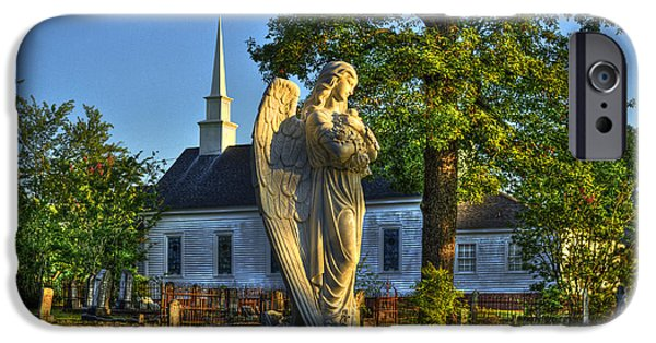 Graveyard Road iPhone Cases - Walker Church Cemetery Angel iPhone Case by Reid Callaway