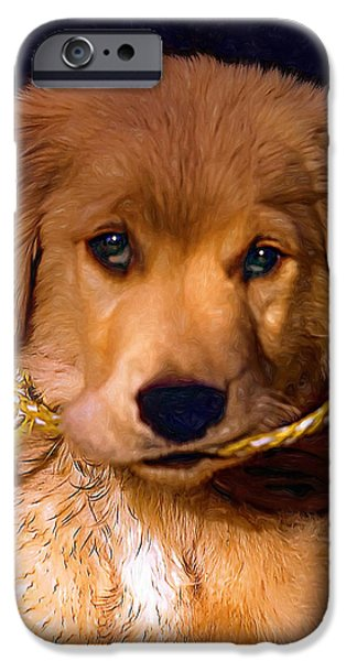 Puppies Digital Art iPhone Cases - Walkies...Pleeease - Paint iPhone Case by Steve Harrington
