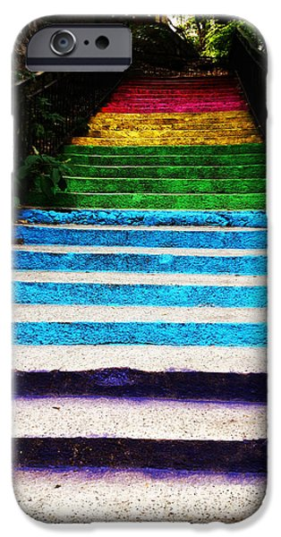 Lucy D iPhone Cases - Walkin on Rainbow iPhone Case by Lucy D