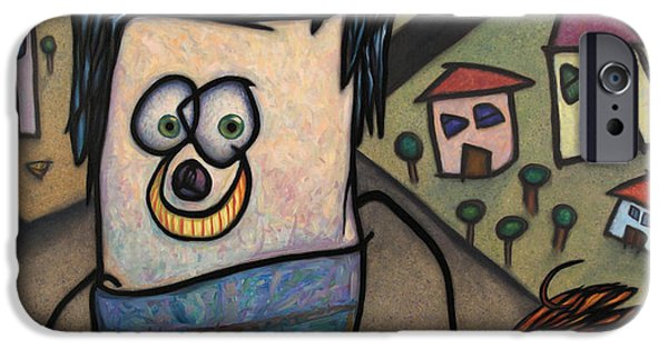 Dog Walking iPhone Cases - Walkin the dog iPhone Case by James W Johnson