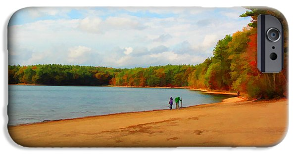Walden Pond iPhone Cases - Walking at Walden Pond iPhone Case by Tom Christiano
