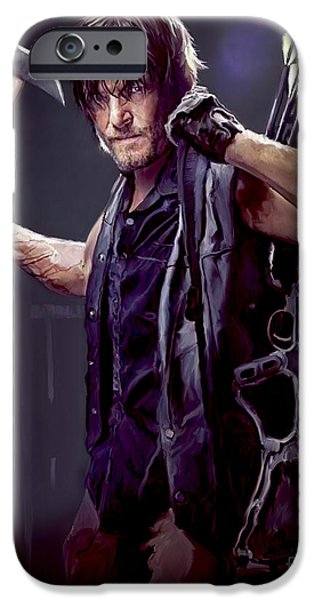 Celebrities Portrait iPhone Cases - Walking Dead - Daryl Dixon iPhone Case by Paul Tagliamonte