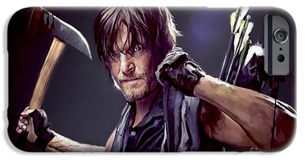 Attack iPhone Cases - Walking Dead - Daryl iPhone Case by Paul Tagliamonte