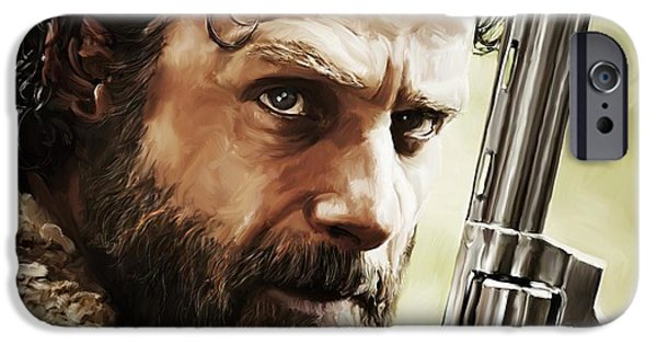 Celebrities Digital iPhone Cases - Walking Dead - Rick iPhone Case by Paul Tagliamonte