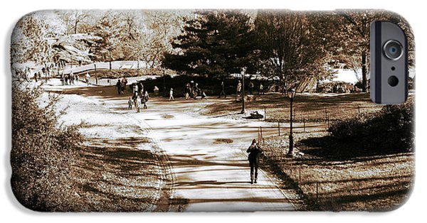 Monotone iPhone Cases - Walking in Central Park iPhone Case by John Rizzuto