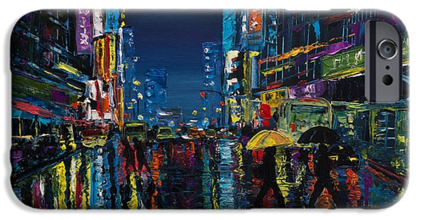 Hong Kong Paintings iPhone Cases - Walking in the city Taipei  iPhone Case by Salavat Fidai